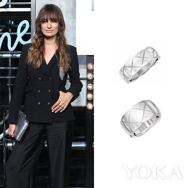 Caroline de Maigret in Chanel COCO CRUSH系列18K白金戒指